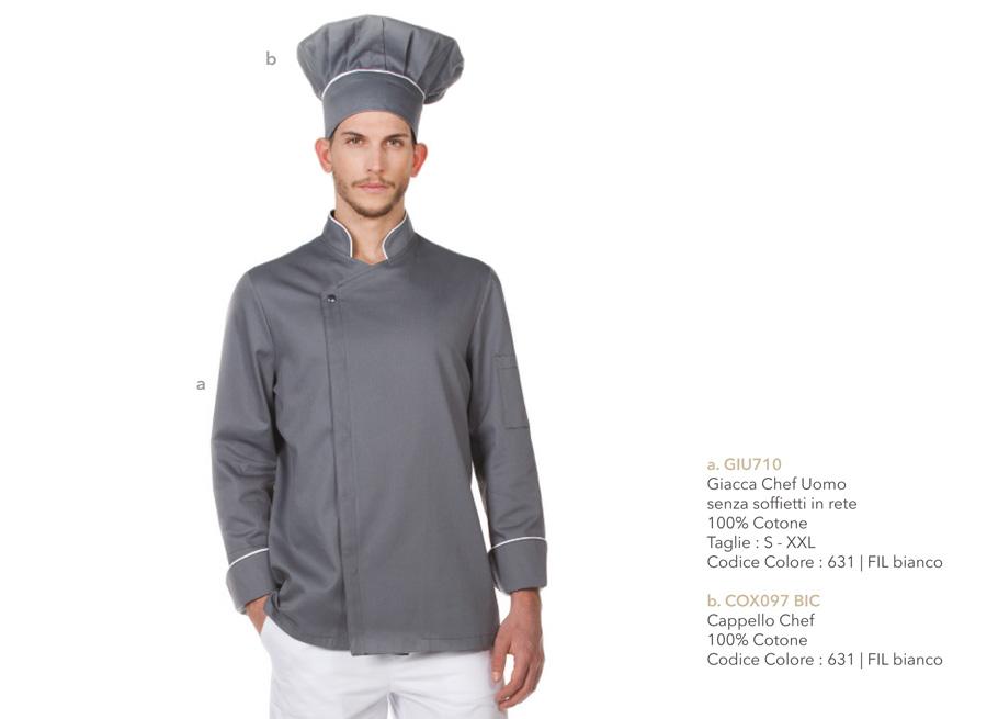 Abbigliamento professionale per Chef e sous-chef, Cuoco, aiuto cuoco, trattorie, cucine, ristoranti, alimentari