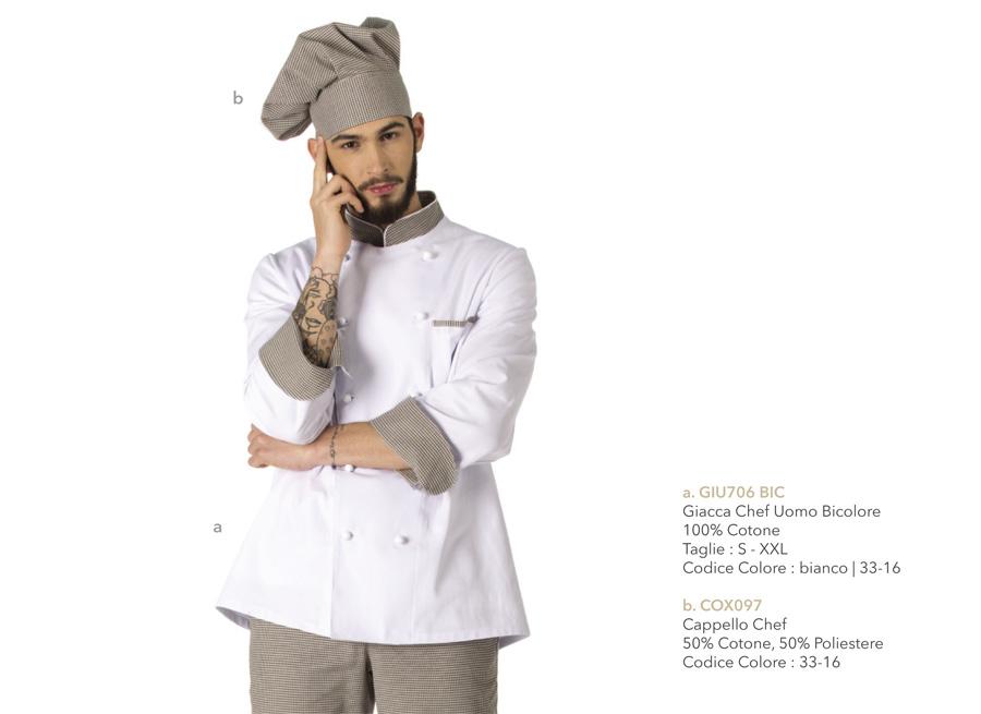 Abbigliamento per cuoco, divisa da cucina per chef, hotel, osterie, ristoranti, pizzerie