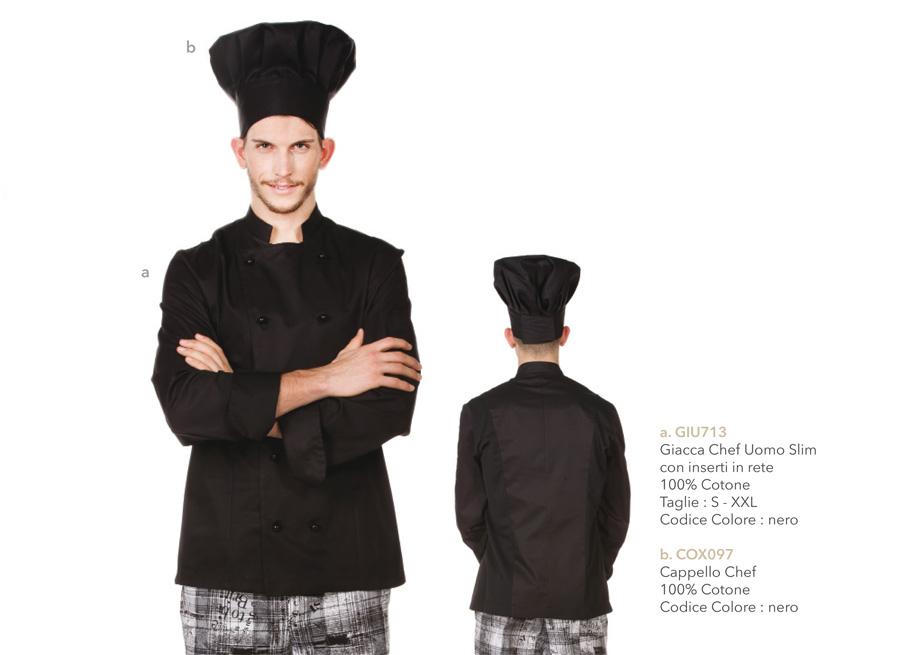 Abbigliamento da lavoro per Cuoco, aiuto cuoco, Chef e sous-chef