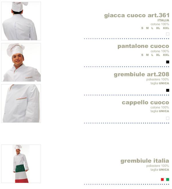 Abbigliamento da cuoco per hotel, alberghi, ristoranti, pizzerie e gastronomie