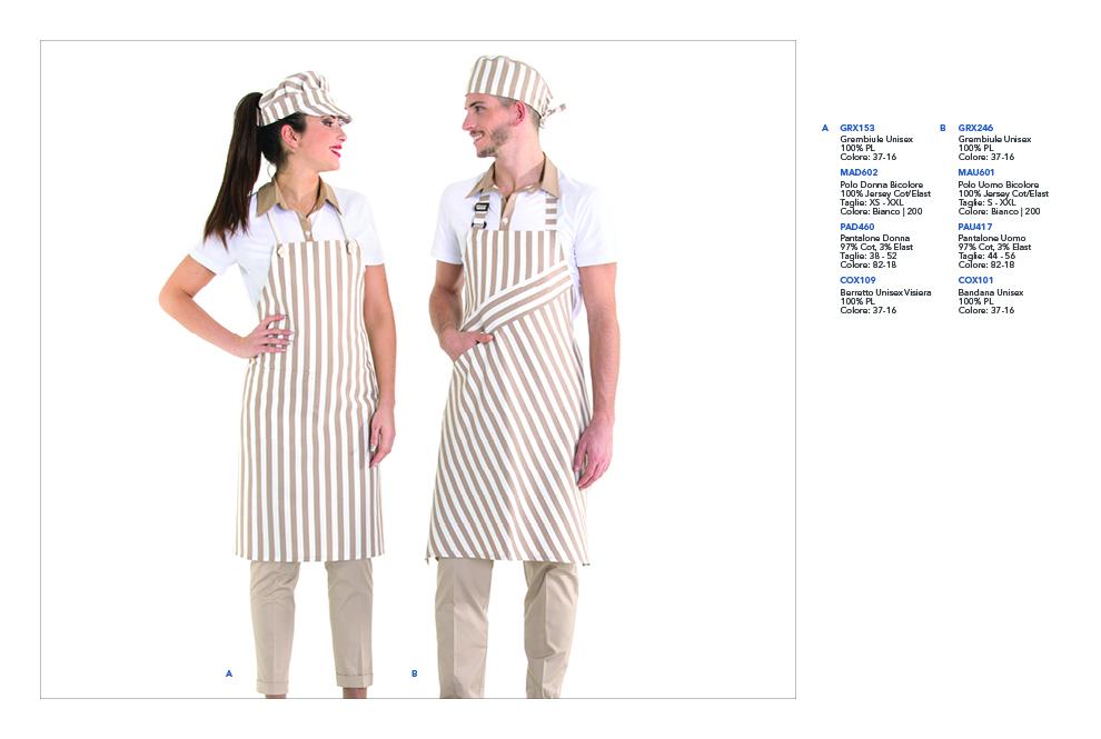 Abbigliamento professionale per Gastronomie, Panifici, Piadinerie, Pizzerie, Alimentari, Pasta Fresca, Creperie