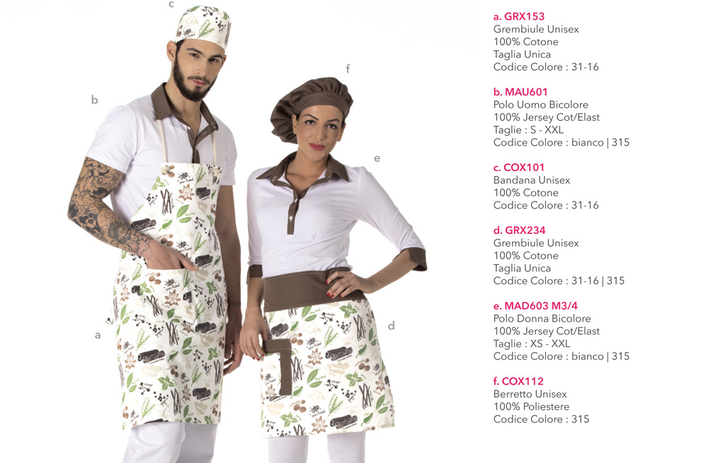 Abbigliamento Professionale per gelaterie, pasticcerie, bar, frutterie