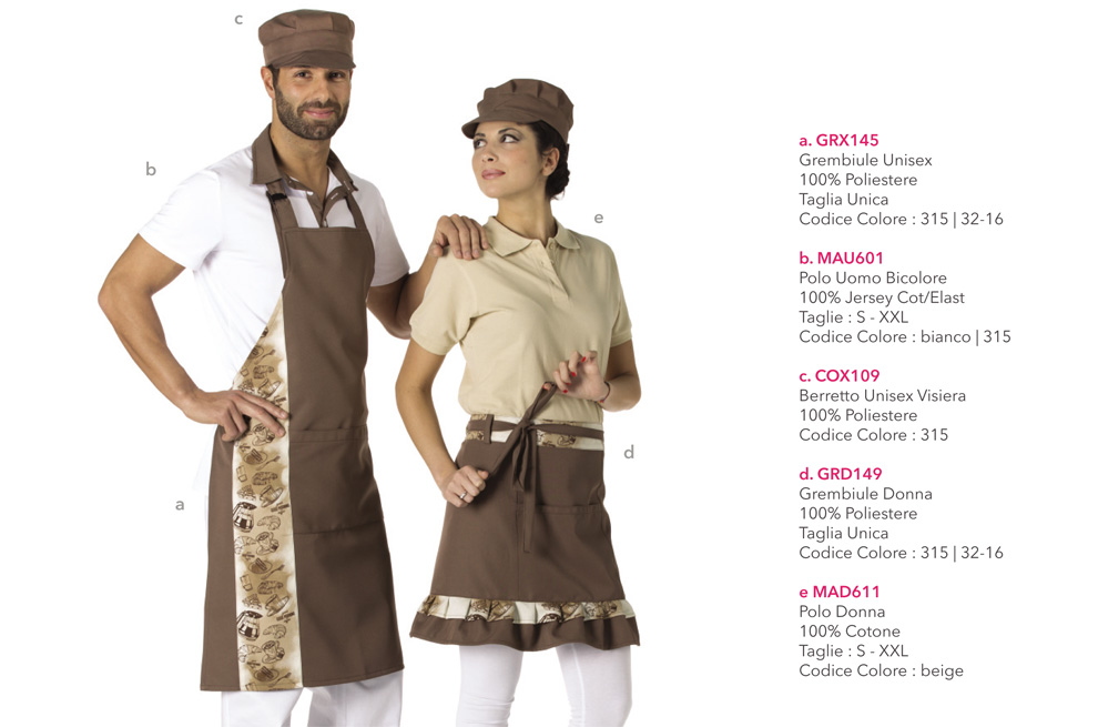 Abbigliamento professionale per Hotel, Alberghi, Bar, pasticcerie e gelaterie