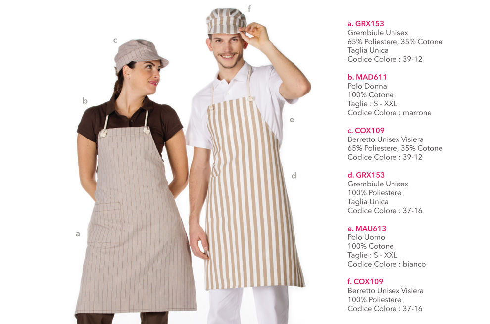 Abbigliamento professionale per Gastronomie, Panifici, Gelaterie, Pasticcerie e Bar