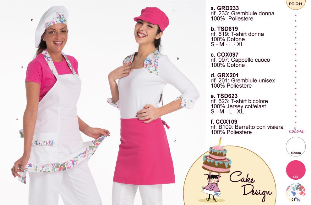 Abbigliamento e divise colorate e fantasiose per il cake design