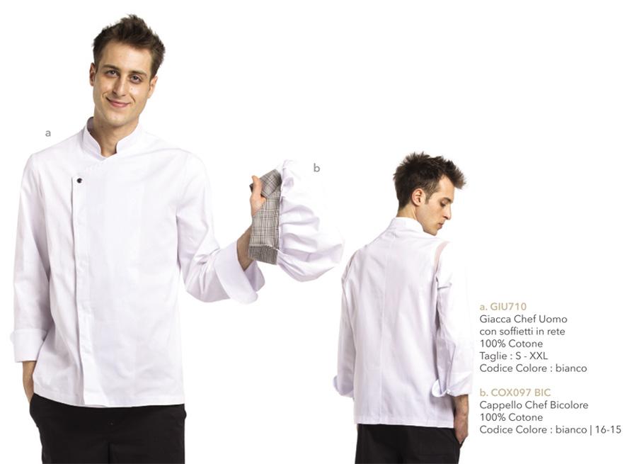 Nuova Giacca da Chef Bianca con Inserti in rete elasticizzata sulle Spalle con Bottone a Pressione
