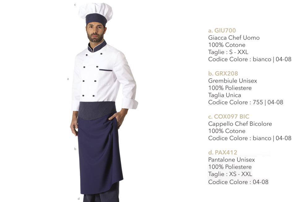 Divisa da chef, cioccolateria, gelateria, ristoranti, hotel, scuole alberghiere, pizzerie