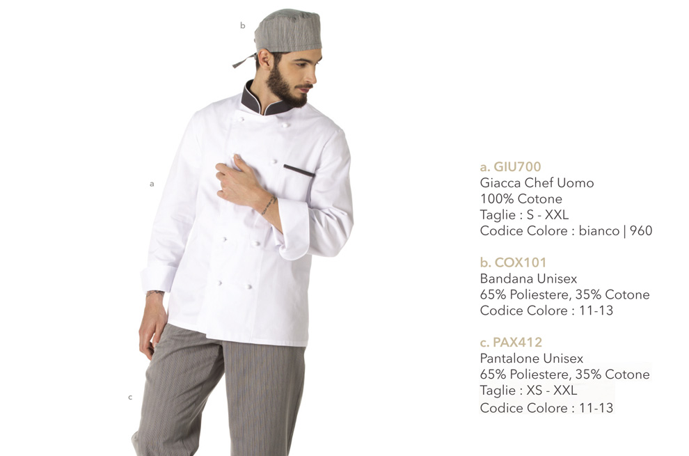 Divisa da pasticcere per pasticceria, gelateria, chef, ristorante, gastronomia
