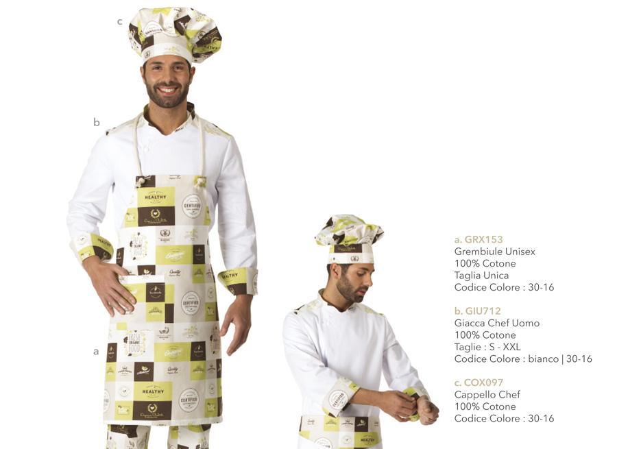 Divise per cuochi, chef, hotel, ristoranti, pizzerie, scuole alberghiere, gastronomie, pescherie
