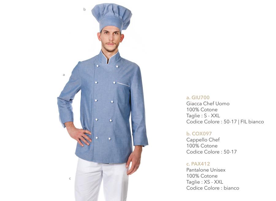 Divise professionali per chef, cuochi, hotel, macellerie, ristoranti, pizzerie, scuole alberghiere, gastronomie