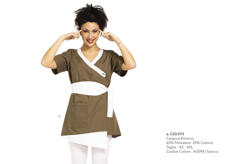 Abbigliamento professionale Mevi: Casacca per Centri estetici, SPA, estetiste, centri nail, centri benessere