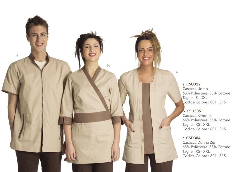 Abbigliamento Professionale per spa, parrucchieri, estetiste, centri benessere, caffetterie