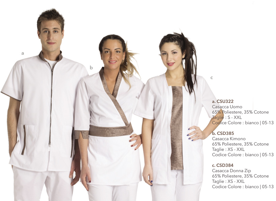 Divise Professionali per centri benessere, hotel, spa, parrucchieri, centri termali, estetiste, ambulatori