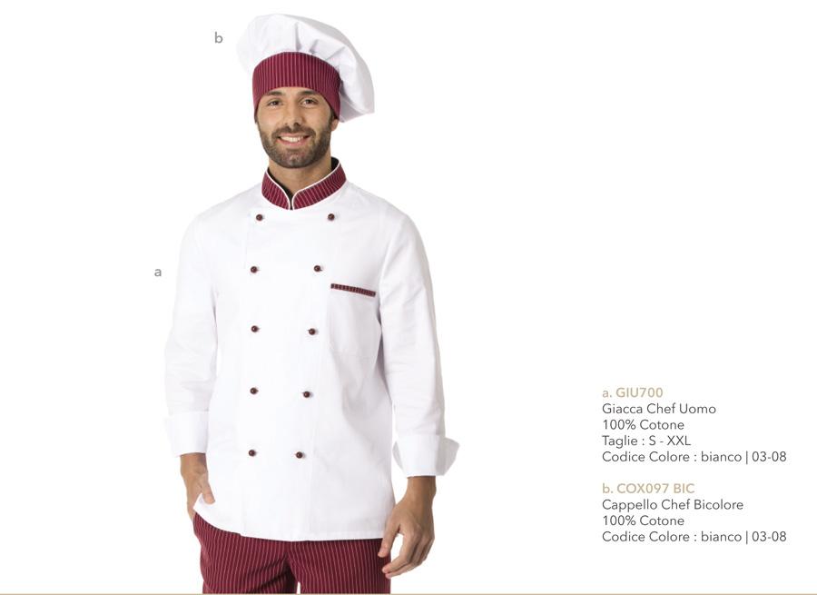 Divise per cuochi, giacche per chef, hotel, ristoranti, pizzerie, scuole alberghiere, gastronomie