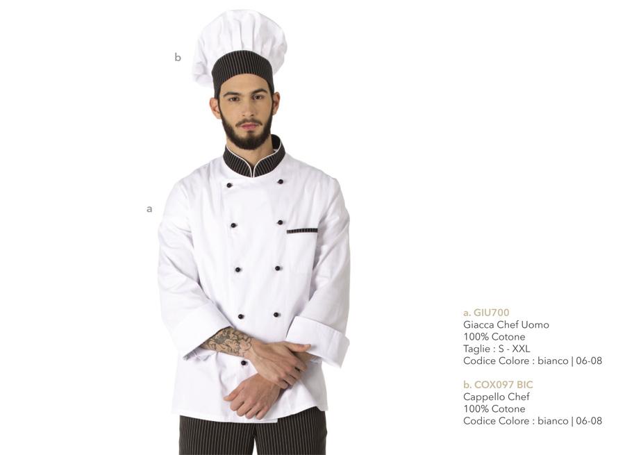 Giacche per cuochi, chef, cucine, alberghi, macellerie, ristoranti, scuole alberghiere, pizzerie