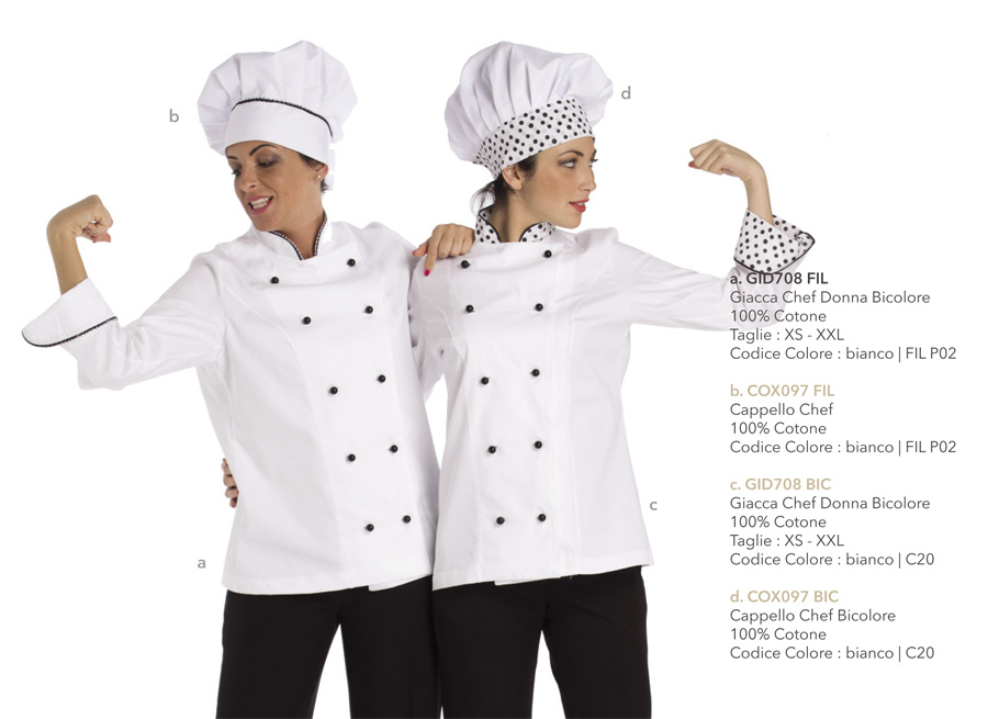 Giacche cuoco per chef, hotel, scuole alberghiere, macellerie, pizzerie