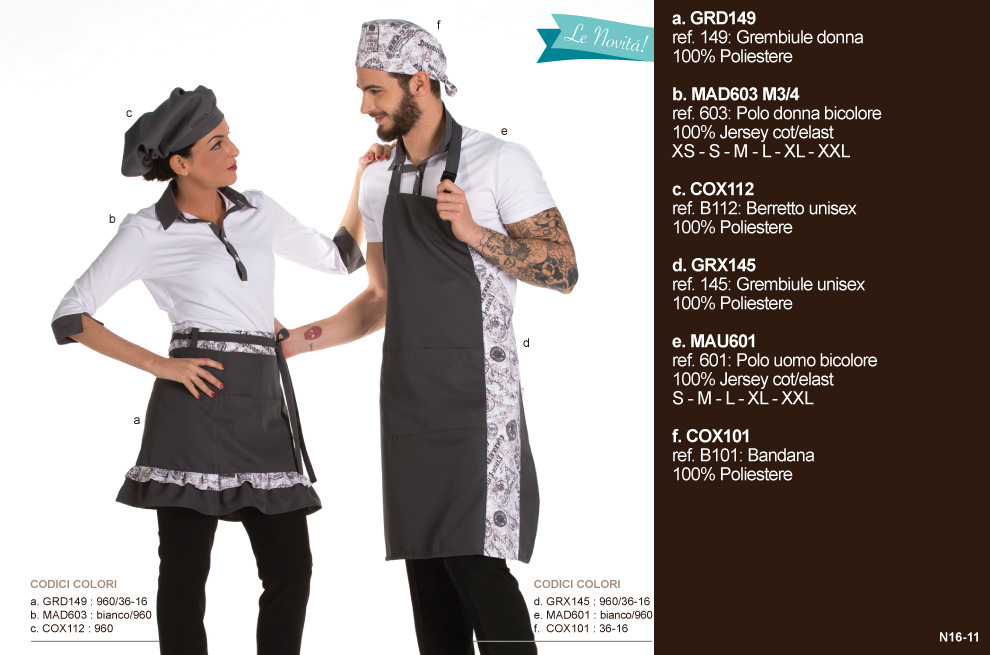 Abbigliamento chef, divise chef per Gastronomie, Forni, Panifici, Alberghi ed Hotels, Gelaterie e Pasticcerie