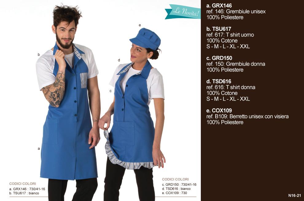 Abbigliamento professionale Mevi per gelateria, frutteria, yogurteria, pasticceria, bar, caffetteria