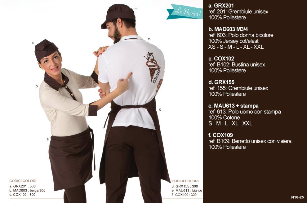 Divisa da Lavoro per creperia, caffetteria, yogurteria, gelateria, panificio, bar