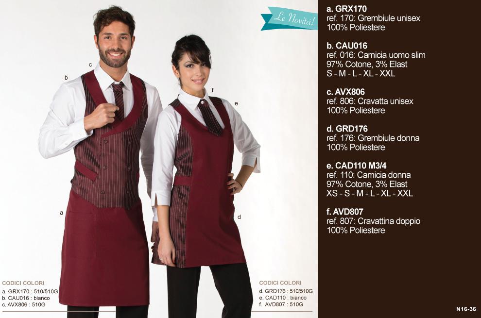 Abbigliamento camerieri per hotel ristorante, albergo, bar, pasticceria