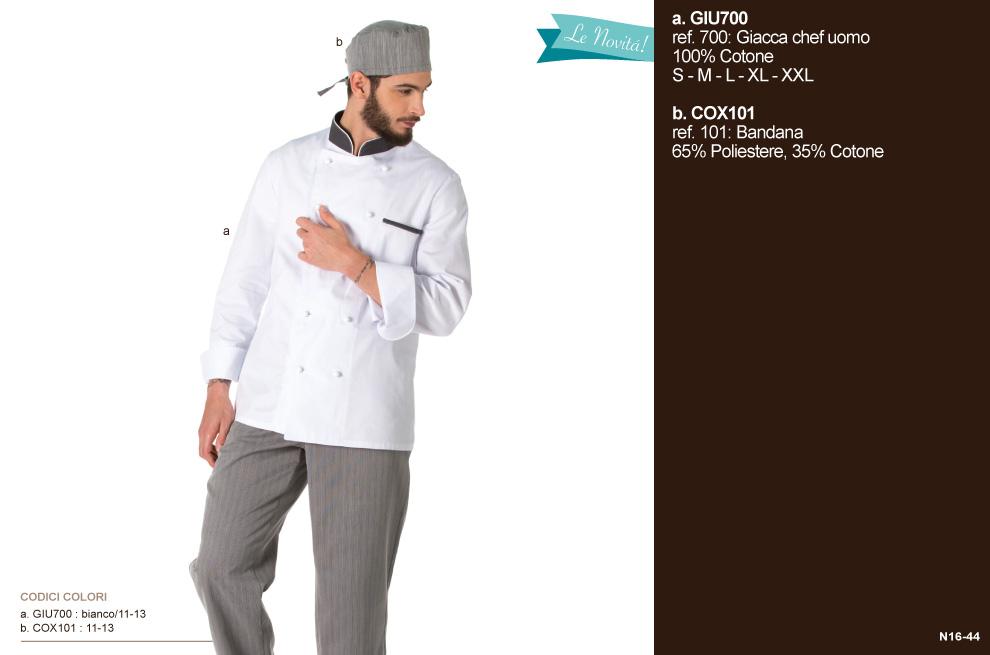 Divisa e pantaloni da cuoco, gelatai, yogurterie, ristoranti, gastronomie e aiuto cuoco