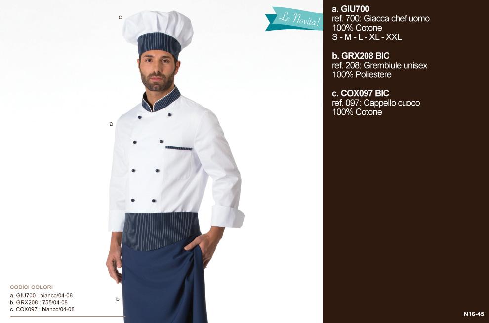 Abbigliamento professionale per cucine, chef, cuochi, alberghi, macellerie, ristoranti, scuole alberghiere, gastronomie, pizzerie