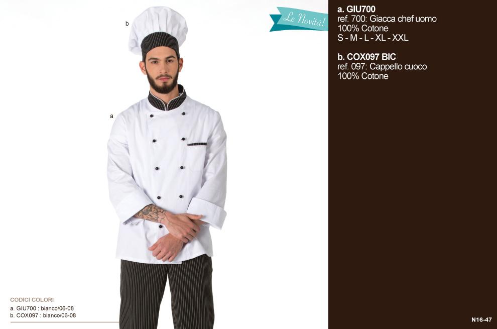 Giacca da Chef per ristoranti, scuole alberghiere, aiuto cuoco e hotel per il settore Ho. Re. Ca.