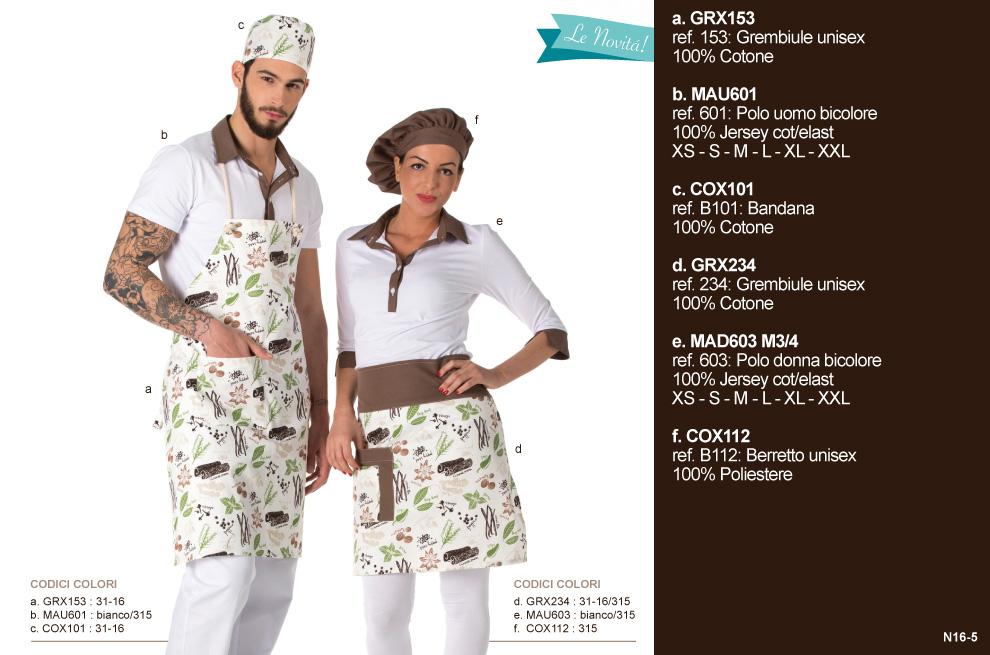 Abbigliamento Professionale, camici da lavoro per gelaterie, pasticcerie, bar, frutterie
