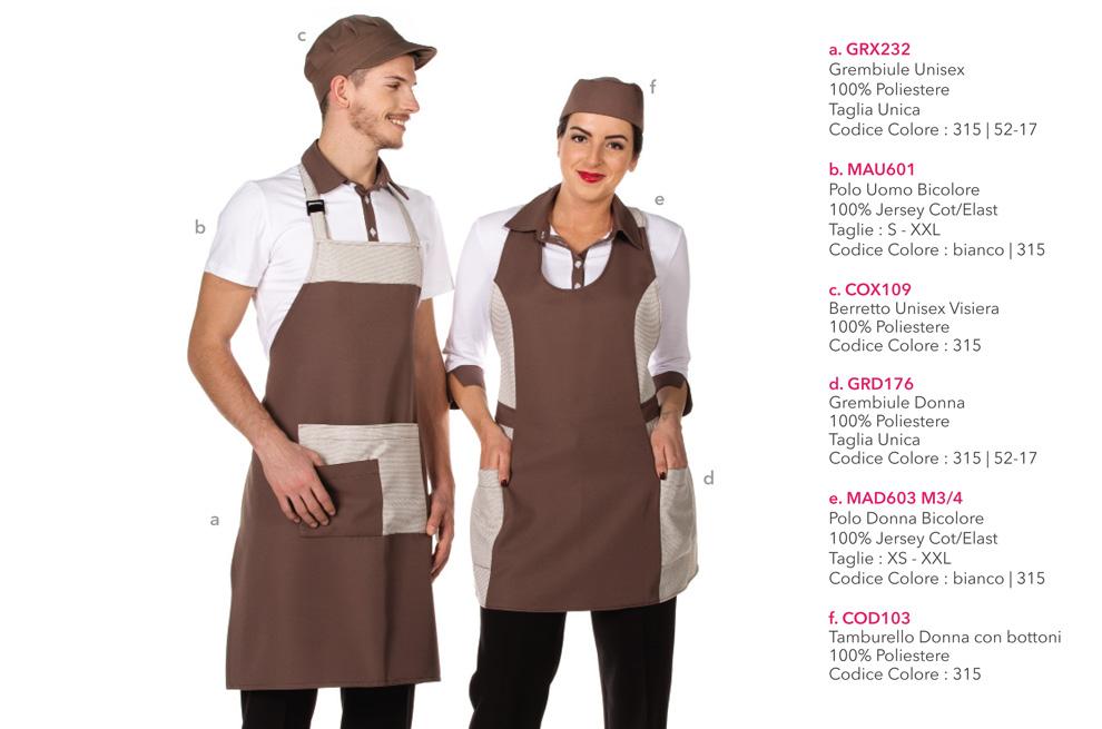 Divise da Lavoro e grmbiuli per supermercati, gastronomia, bar, cioccolateria