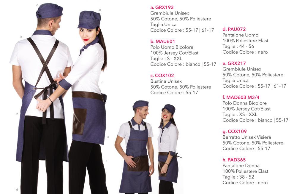 Grembiuli e Divise da Lavoro per bar, cioccolaterie, pasticceria, panifici, hotel, ristoranti